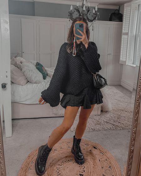 Autumn fall all black outfit ideas  Missguided Oversized handknitted boack jumper Dr marten platform boots Coach tabby bag  #LTKSeasonal #LTKstyletip #LTKeurope