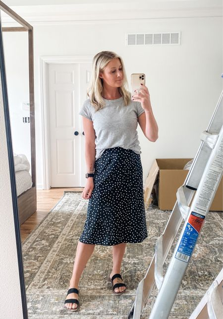 Church OOTD and this Amazon skirt and my favorite tee shirt that's so flattering! And do you spy the new rug? 😍 this room is really coming together!   #amazon #amazonfashion #church #churchoutfit #ootd #tee #favoritetee #basics   #LTKunder50 #LTKhome #LTKstyletip