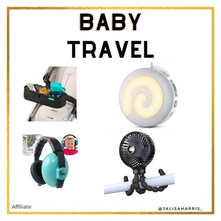 Baby travel essentials for vacation. Portable sound machine, portable fan you can use anywhere, ear muffs for any loud noise like a plane and a tray for the stroller   #LTKtravel #LTKbaby #LTKkids