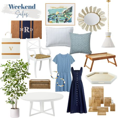 Save on coastal decor with this weekend's sales!   capiz mirror, white pendant light, coastal artwork, doormat, cheese board, faux tree, white dining table, blue summer dress, cane bathroom accessories, tray table, blue pillow cover, white dining chair   #LTKhome #LTKstyletip #LTKunder100