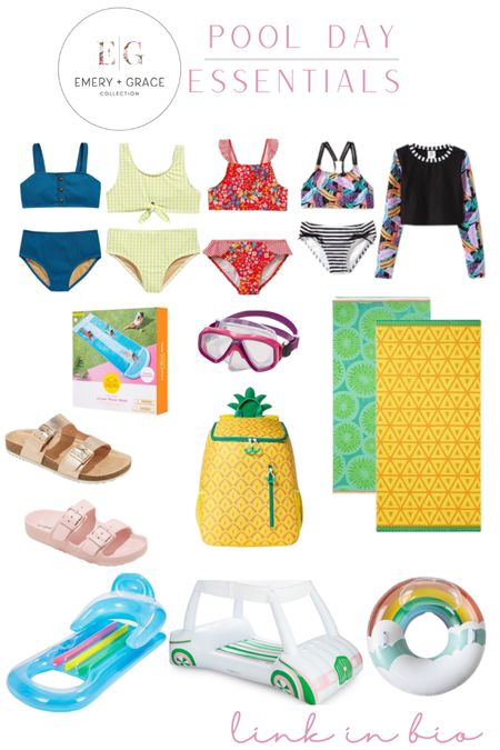 Pool Day Essentials from the Emery & Grace Collection! These are the girls' top favorite items for summer in the sun. Pool time has never been so easy & fun! Target has the CUTEST glossies this season too.   http://liketk.it/3hBo0 #liketkit @liketoknow.it #LTKfamily #LTKkids #LTKswim