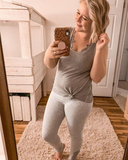 Light grey leggings, green tank, bralette, pink Lily Boutique, comfy, weekend, casual, leggings outfit, spring, beige rug, Loft bed.   http://liketk.it/2KZ0w #liketkit #LTKhome #LTKsalealert #LTKunder50 @liketoknow.it