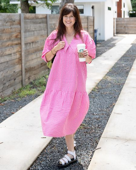 An oversized dress with an oversized collar and oversized sandals is my formula for summer weather dressing that is both cute and comfy. I am really loving the modern sustainable brand called @native_youth  . Linked to this dress and many others I am eyeing. Another great thing about this brand is that most of the styles I linked to come in plus size too. And most of them are on sale or under $50.  . . . . . .   #LTKsalealert #LTKstyletip #LTKunder50