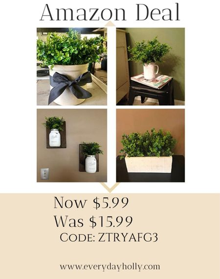 Amazon Deal!  🌿  Artificial Boxwood (Pack of 6), Artificial Greenery Stems Fake Outdoor Plants UV Resistant for Farmhouse Home Garden Wedding Indoor Outside Decor in Bulk Wholesale (Green) Over 2700 amazing reviews!    #LTKsalealert #LTKhome #LTKunder50