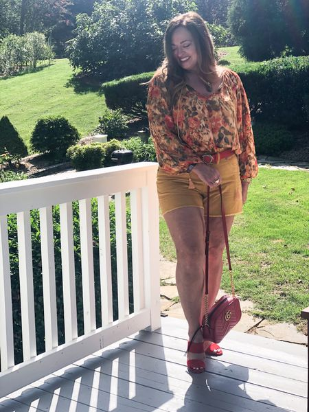 How to do an early Fall Look! Mustard corduroy shorts (gap). Mustard gold floral! ( linked similar) add red accessories!  Belt: @nordstroms 2 years ago Purse: Gucci Marmont   #LTKbacktoschool #LTKSeasonal #LTKstyletip