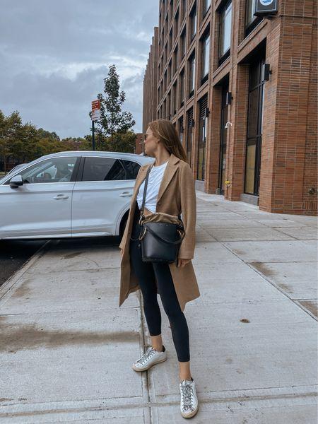 Cozy road trip outfit! Longline H&M coat-igan/ long coat blazer, lululemon align leggings, P488 sneakers #ltkfall