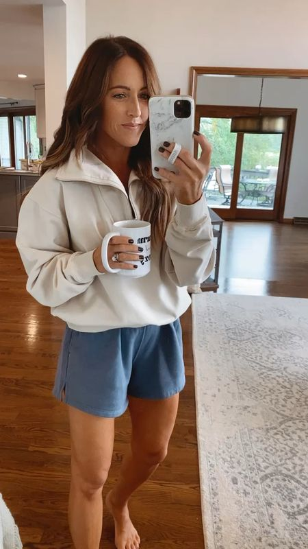 Cozy loungewear. This pullover had a fabulous collar. Looks so cute with jeans too.  Size 1 in pullover - 25% off with code:FAM25 Shorts Small (could do xs)  #LTKSeasonal #LTKSale #LTKfit