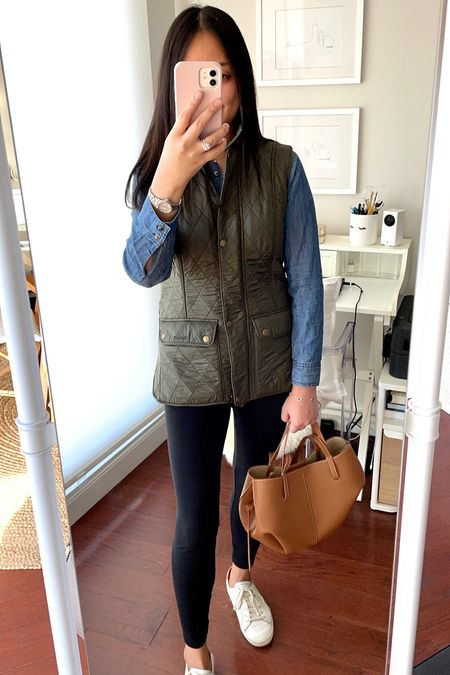 October 25, 2021 - There are two brand new posts on whatjesswore.com!  Barbour vest runs small - I took US 6. Review here 👉🏻 https://www.whatjesswore.com/2021/10/barbour-wray-vest-review-olive-fall-layers.html  Polene Cyme mini bag in camel  #LTKstyletip #LTKSeasonal #LTKunder100