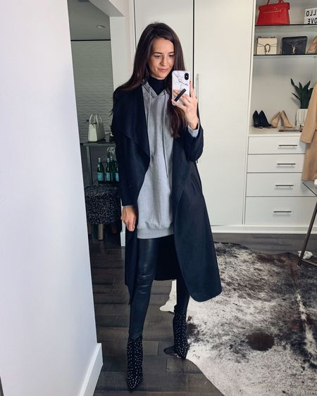 Tried to recreate a look I saw on a mannequin at H&M. I think these hooded sweatshirt dresses are going to be popular! http://liketk.it/2F0XI #liketkit @liketoknow.it myviewinheels, fauxleather leggings, black booties #LTKunder50 #LTKstyletip