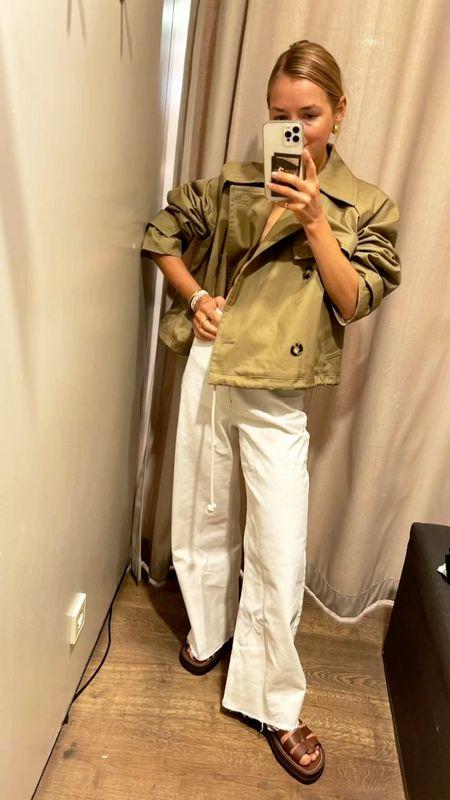 The khaki jacket  #mangonew #mangojacket #greenjacket #newin #mangonewnow #womenjacket #shortjacket #white #whitepants #widepants #sandals #brownsandals #trenchcoatjacket #summerjacket   #LTKunder100 #LTKunder50 #LTKeurope
