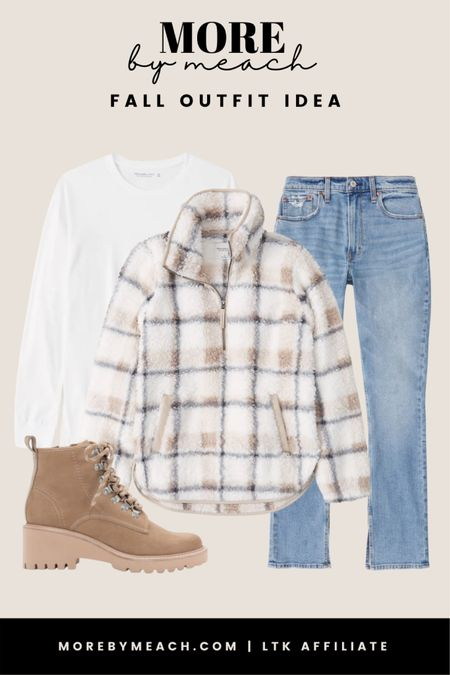 A cozy casual fall outfit idea using a fleece pullover, boyfriend t shirt, and Abercrombie jeans! The nude boots by Dolce Vita are a nice little touch and so versatile! From my experience, these pieces run true to size!! 🤍   #LTKunder100 #LTKSeasonal #LTKSale