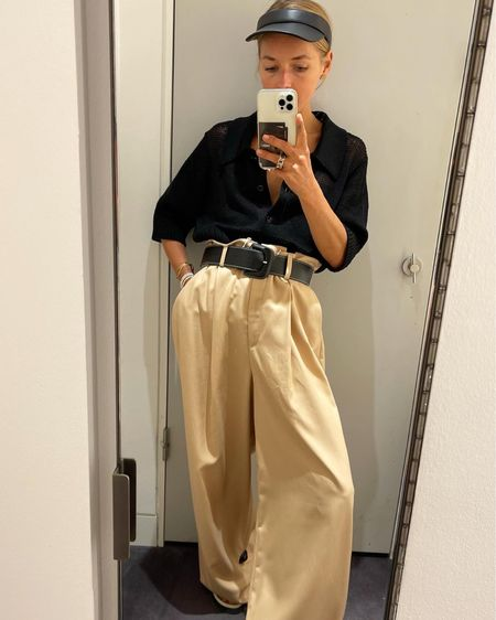 The wide pant #widepants #trousers #beigetrousers #blackshirt #belt #blackbelt #cosnewin #cosnewcollection #fridays  #LTKstyletip #LTKunder50 #LTKunder100