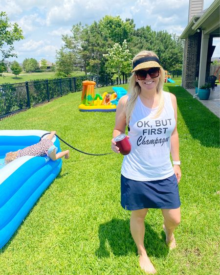 Whether you're chilling in your poor man's pool, got your toes in the sand at the beach, or you're boatin' it up today, I hope you'll stop and have a grateful moment for those who have given all so we can enjoy all the things we do every day. 🇺🇸 As for us, we'll be enjoying the traditional inflatable pool with Prosecco on the side (popsicles for kids). We're also raising a glass to the families who have sacrificed so much for the freedom we have in this beautiful country. 🥂🍻 Happy Memorial Day, y'all! ❤️🤍💙   http://liketk.it/3gxgv #liketkit @liketoknow.it #LTKunder50 #LTKunder100 #LTKfamily @liketoknow.it.family   You can instantly shop my looks by following me on the LIKEtoKNOW.it shopping app