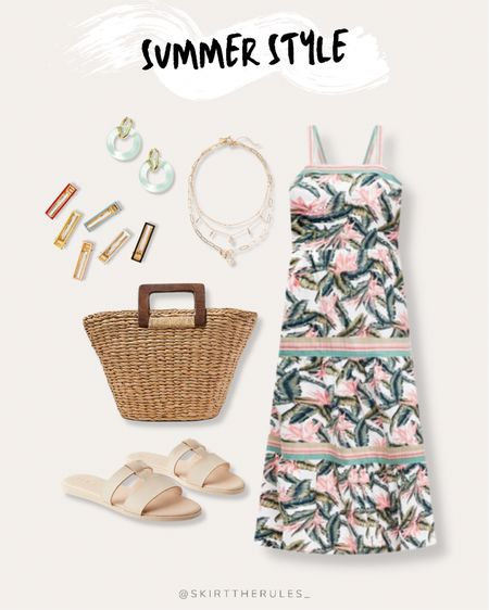 LOFT, summer outfit, beach vacation, summer style, date night outfit, casual dress, summer dress: tropical print dress, palm print dress, summer maxi dress, gold layered necklace, hair clips, barrettes, mint circle earrings, straw tote bag, straw bag, beige slide sandals. @liketoknow.it http://liketk.it/3gvwe #liketkit   #LTKunder100 #LTKtravel #LTKstyletip