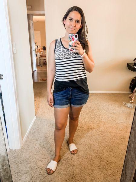 Tank top, jean shorts, slides  #LTKSeasonal #LTKunder50 #LTKstyletip
