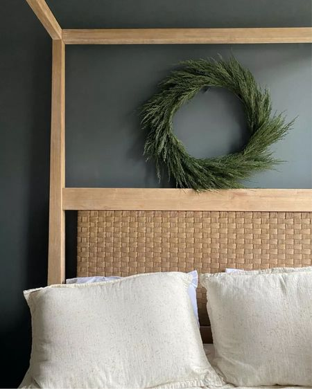 Faux cypress wreath for holiday decor 🌲  #LTKSeasonal #LTKunder100 #LTKHoliday