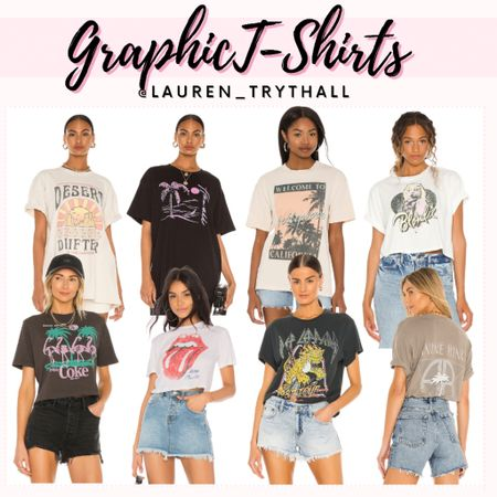 Graphic T-Shirts, Summer Outfit, Graphic Tees, Casual Outfit, Denim Shorts  #LTKSeasonal #LTKstyletip #LTKunder50