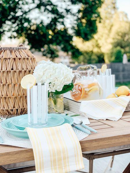 Summer table decor from Walmart. Citrus inspired table setting. Outdoor tablescape.🍋 http://liketk.it/3iAjA #liketkit @liketoknow.it #LTKhome #LTKunder50 @liketoknow.it.home