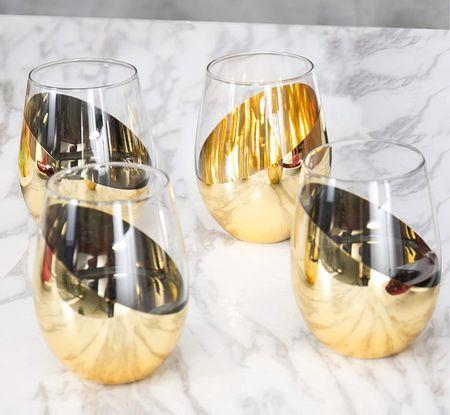 Gold wine glasses   #LTKhome #LTKwedding #LTKfamily