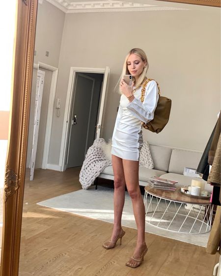 All dressed up for staying in and watching TV 🤍  • • Matching a white mini dress with my Bottega Veneta mesh heels and chain pouch 🤎 @liketoknow.it #liketkit http://liketk.it/2MGWP #StayHomeWithLTK #LTKstyletip #LTKitbag
