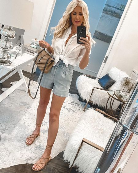 My entire outfit is part of the LTK sale including my chic white button-down and shorts - I'm wearing an Xs in both  @liketoknow.it #liketkit http://liketk.it/3hmBW #LTKunder100 #LTKunder50 #LTKsalealert