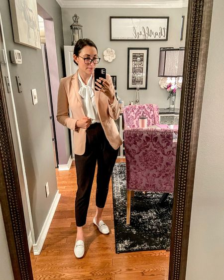 Today's workwear ootd: Ann Taylor pink blazer (size 0), J.Crew Factory white bow tie neck blouse (size xs), black high waisted dress pants, and white loafers 💗🖤🤍 You can instantly shop my looks by following me on the LIKEtoKNOW.it shopping app! http://liketk.it/3jKHO #liketkit @liketoknow.it #LTKworkwear #LTKstyletip #LTKshoecrush