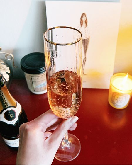 Celebrating my birthday at home. This pretty pink champagne flute is from Anthropology! It's always so chic drinking out of it. Perfect for nights at home ❤️ #StayHomeWithLTK #LTKunder50 #LTKhome http://liketk.it/2Mayv #liketkit @liketoknow.it    Follow me on the LIKEtoKNOW.it shopping app to get the product details for this look and others
