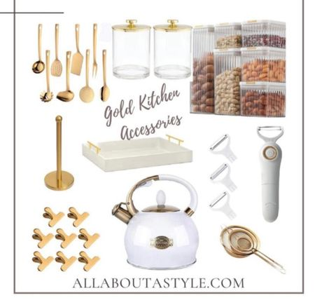 Gold Kitchen Accessories. #amazon #teapot #servingtray #canisters #chipclips  #goldaccessories #kitchen #LTKhome @liketoknow.it #liketkit (enableimagetoviewlink)