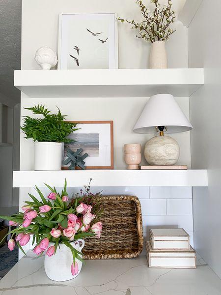 Love the kitchen shelf display.  Studio McGee  Hearth and Hand Joanna Gaines  vase  pot  Floral arrangement  decorated boxes  lamp  cook books  picture frames  art work  vases  faux floral  olive tree  target    #LTKhome #LTKsalealert #LTKunder50