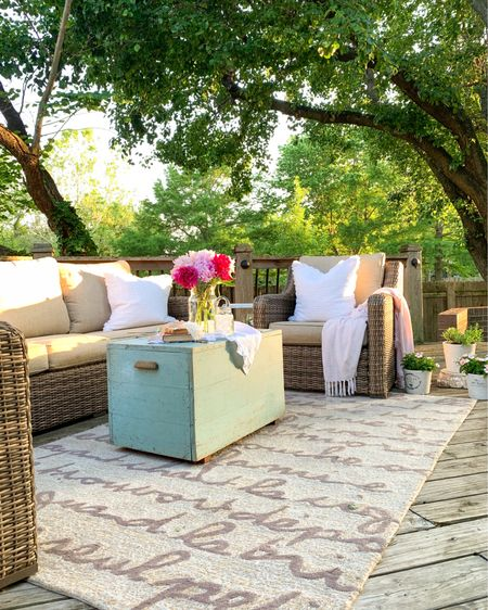 Summer Patio Oasis ☺️ Create a warm and welcoming outdoor space with this high quality 4-Piece Sofa Conversation Set patio set! The set includes the outdoor sofa, 2 outdoor chairs and the coffee table. This patio furniture is beautiful and looks like wicker, but it is all-weather wicker, which is a different type of material that is moisture/mold/mildew resistant and incredibly durable!🙌 We've enjoyed this set for 4 years already and know it will last many years to come!  Our friends and family love to gather around this comfy & pretty spot!🌿  **Please note Peonies do best when planted in the fall! 🌸🌸💖   Follow me on the LIKEtoKNOW.it shopping app to get the details for these products  and others!  #LTKseasonal #competition #summerpatio #outdoorfurniture #wickerfurniture #peonies #patiodecor http://liketk.it/3gZHl  #pinkpeonies #pinkbouquet @liketoknow.it #LTKDay / #liketkit @liketoknow.it.home @liketoknow.it.family    #LTKfamily #LTKsalealert