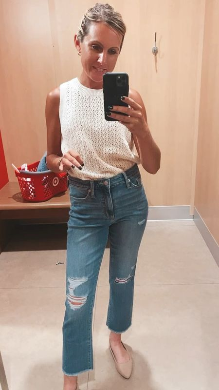 Buy these! Im obsessed. TTS, wearing size 4 here will probably order a 2. Straight legged medium wash by universal thread here are your Agolde dupe jeans. Most flattering jeans   #LTKstyletip #LTKunder50 #LTKSeasonal  #LTKSeasonal #LTKstyletip #LTKsalealert