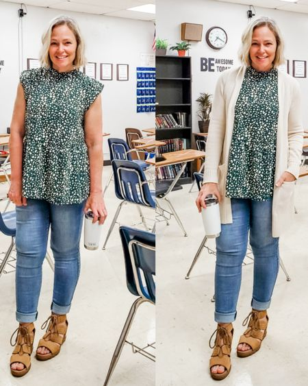 Casual everyday spring summer teacher weekend outfit featuring a green ruffled tiered sleeveless top, skinny jeans jeggings, a long ivory white cardigan, and Sorel wedge sandals #teacher #petite #jeans #jeggings #amazon #floralprint #floral #cardigan #fliwy #ruffled #tiered #ruffletop #weekend #travel #everyday #casual http://liketk.it/3fD7h @liketoknow.it #liketkit