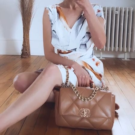 The grey and caramel tones in this Reiss dress are stunning and look amazing with the Chanel 19 bag. The dress was £195 down to £65. I'm wearing a size 6 (size down)  #reissdress #reiss #chanel #chanel19bag  #LTKsalealert #LTKSeasonal
