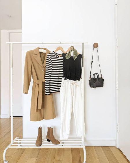 spring layers: beige coat, white pants, striped top, bra tank top, booties, and crossbody bag  #LTKstyletip #LTKunder100 #LTKitbag