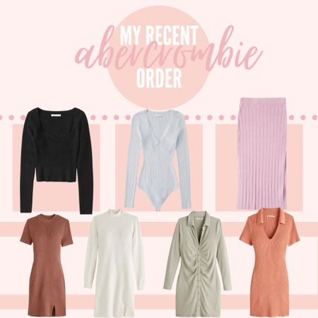 My recent order from Abercrombie! They have amazing fall sweaters, dresses, & skirts that I'm LOVING right now — plus they're having a sale! #abercrombie #sweater #dress #sweaterdress #fallclothing #fall #knit  #LTKSeasonal #LTKsalealert #LTKunder100