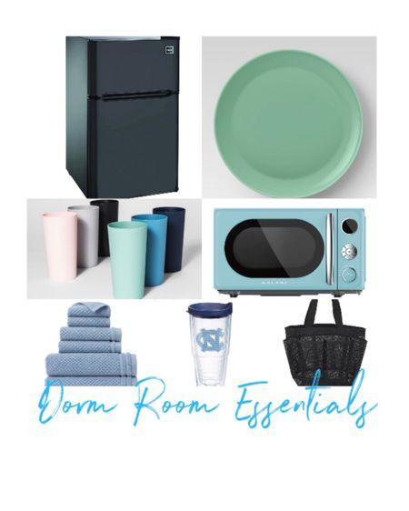 Dorm room essentials. Dorm room necessities. Mini fridge with freezer, mini microwave, towel set, cups, bowls, plates, affordable dishes, budget dishes, towel set, Tervis tumbler, shower caddy. Affordable apartment items. Affordable dorm room items. Walmart, Amazon, Target. http://liketk.it/3kS95 #liketkit @liketoknow.it #LTKhome #LTKsalealert #LTKunder100