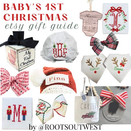 BABY'S FIRST CHRISTMAS ETSY GIFT GUIDE  I curated items from Etsy that will make for a special gift for a Baby's First Christmas.  Sweet little keepsake items for any baby on your list, really. This is my 2nd year rolling out Etsy Gift Guides & I have so much fun curating items from talented small shops on the platform. Head to the blog post at ROOTSOUTWEST.COM for 30+ gift ideas!    #LTKbaby #LTKGiftGuide #LTKHoliday