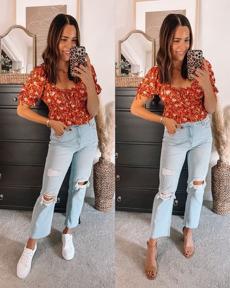 Jcpenney  Floral top: sized up to a M Ripped straight leg jeans: true to size White sneakers: true to size Tan heels: true to size   #LTKsalealert #LTKunder50 #LTKstyletip