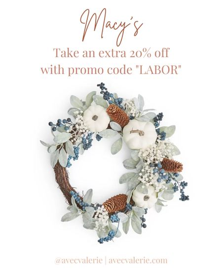 """A mentionable item from Macy's Labor Day sale is the Martha Stewart Collection White Pumpkin Asymmetrical Wreath. The wreath is about 20"""" by 20"""" and is made of plastic, vine, and pinecone. The piece of home decor was created just for Macy's. Martha Stewart Collection's White Pumpkin Asymmetrical Wreath will bring fall time to your front door. Originally $67, the wreath is available for $25.99. But for a limited time only, so act fast!  #LTKhome #LTKSeasonal #LTKsalealert"""
