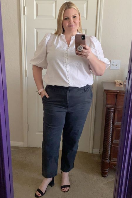 Target puff sleeve blouse- size down one size. Pants are so comfy, always size down one size. Block heel sandals are true to size and comfortable.    #LTKunder50 #LTKworkwear #LTKcurves