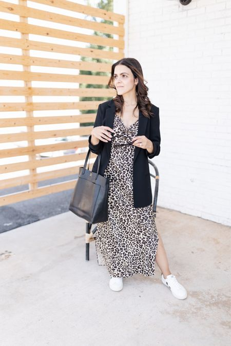One of my favorite outfits for Fall - leopard midi slip dress, white Veja sneakers, black blazer, black mid sized tote   #LTKstyletip