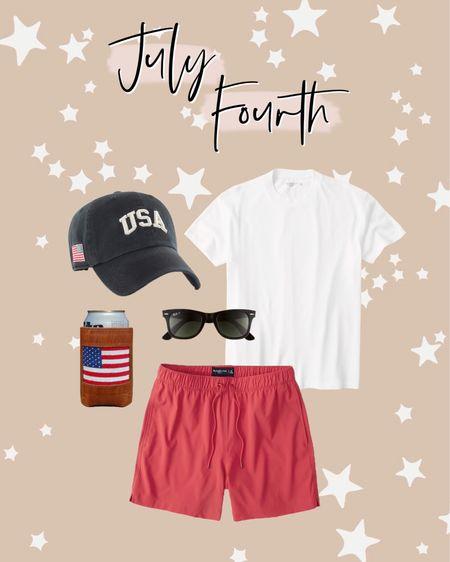 Mens July fourth outfit idea 🇺🇸 http://liketk.it/3igLI #liketkit @liketoknow.it #LTKswim #LTKunder50 #LTKmens July 4th, Abercrombie