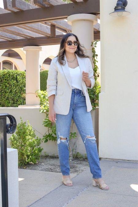 Casual blazer outfit, ripped mom jeans, straight leg jeans  #LTKSeasonal #LTKstyletip #LTKworkwear