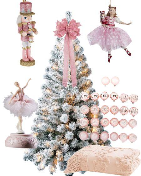 Girls Christmas Tree Decor! #christmastree #nutcracker #ballerina #pinkchristmasdecor #nutcrackers #ballet #ornaments #treeskirt #ribbon #christmasribbon   #LTKGiftGuide