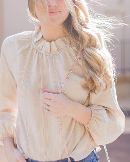 Neutral blouses for spring with feminine details // eyelet blouse, smocked blouse, white blouse, tan blouse, h&m blouse, spring tops under $100 http://liketk.it/2Ki7R #liketkit @liketoknow.it #LTKunder100 #LTKspring