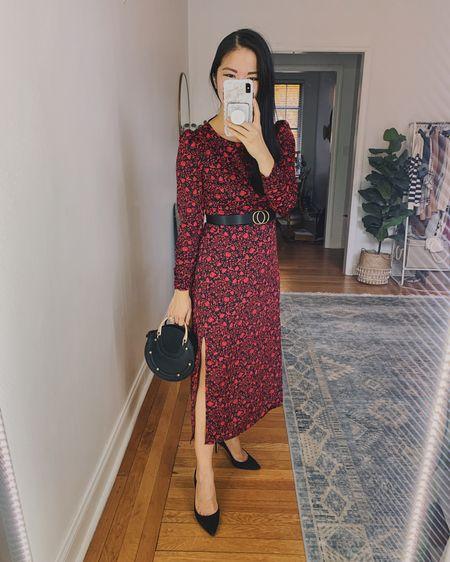 Holiday outfit, holiday dress, fall wedding guest dress, winter wedding guest dress: red floral maxi dress with long sleeves (XS), red maxi dress with leg slit, black circle bag (old, linked similar), black suede pumps (old, linked similar). @liketoknow.it http://liketk.it/30GrM #liketkit #LTKwedding #LTKunder100 #LTKstyletip