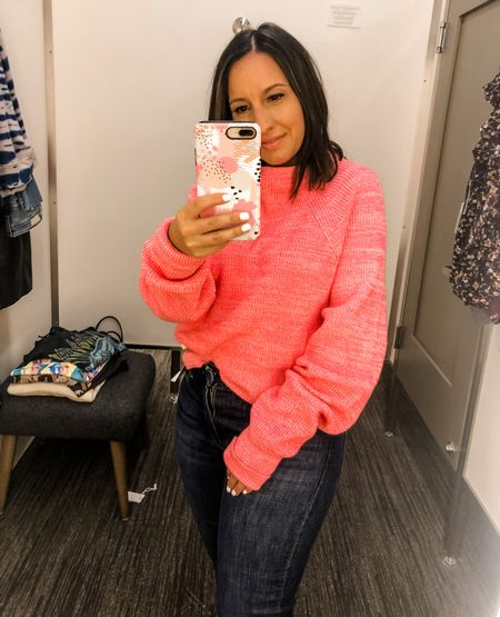 Free People sweater is on sale and it's $42 regular $98. Perfect fall sweater. Good American jeans because I love the fit    #LTKunder100 #LTKsalealert #LTKunder50