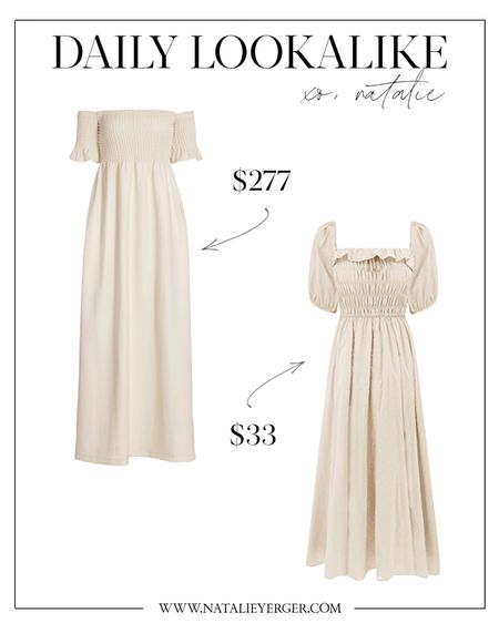 This is my favorite lookalike of the week! This Amazon dress is a best-seller (over 2,000 reviews), and it looks so much like this Staud dress. It can be worn off the shoulder, too, if you want a more exact lookalike from the original! Comes in 10+ colors.  amazon fashion, stand dress, beige dress,Yergerr dress midi, summer midi dress, summer dress maxi, summer dresses maxi, summer maxi dress, smocked dress, stand dress, amazon fashion dress, amazon dresses, amazon summer dress, Natalie yerger   #LTKunder100 #LTKunder50 #LTKSeasonal