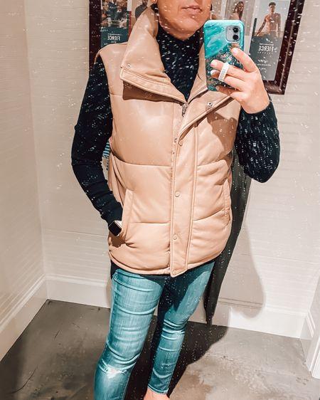 Lots of dust in the mirror in the dressing room!  But this vest is great!  Plus on sale!  Fall style, vest, faux leather, vegan, casual   #LTKSeasonal #LTKsalealert #LTKunder100