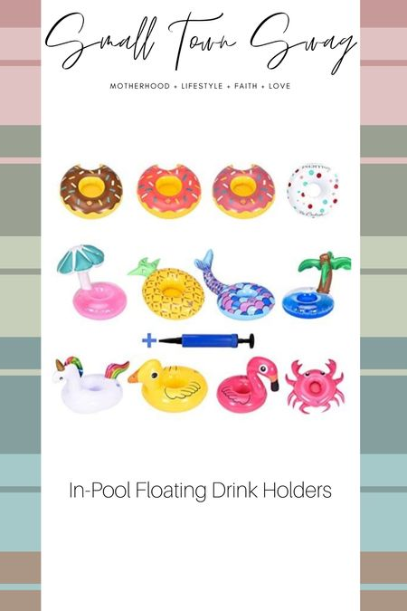 How fun are these?! Little coasters for you to set your drink while floating in the pool!  If you like what you see, then be sure to head over to Instagram and follow me @small.town.swag! I share more of my crazy mom life, fun finds like these, home decor and more there!  Amazon // prime day // Amazon prime // Amazon deals // pool // beach // beach vacation // pool floats // floaties// float // cup holder // inflatable cup holders // drink holders // drink holder  #LTKhome #LTKunder50 #LTKswim